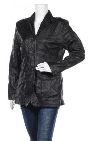 Дамско кожено яке Tom Tailor, Размер XL, Цвят Черен, Естествена кожа, Цена 30,87лв.