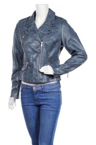 Дамско кожено яке Yessica, Размер M, Цвят Син, Еко кожа, Цена 40,64лв.