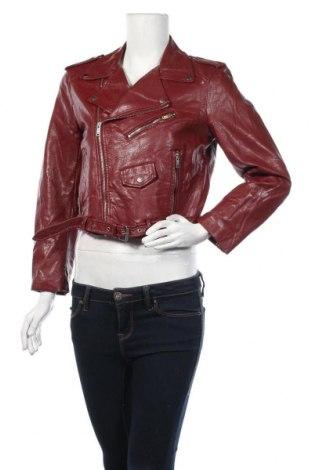 Дамско кожено яке Zara, Размер L, Цвят Червен, Еко кожа, Цена 38,59лв.