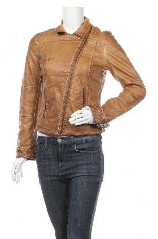 Дамско кожено яке Zara Trafaluc, Размер M, Цвят Кафяв, Еко кожа, Цена 29,61лв.