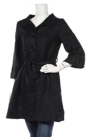 Дамско палто H&M, Размер S, Цвят Черен, 55% лен, 45% вискоза, Цена 40,16лв.