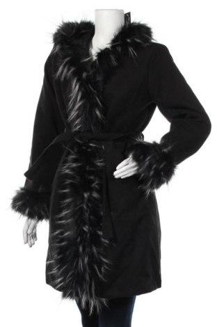 Дамско палто Mademoiselle A Paris, Размер M, Цвят Черен, 80% полиестер, 18% вискоза, 2% еластан, Цена 126,75лв.