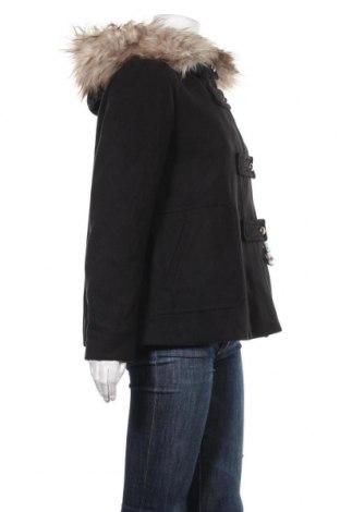Дамско палто Zara, Размер M, Цвят Черен, 88% полиестер, 10% вискоза, 2% еластан, Цена 26,82лв.
