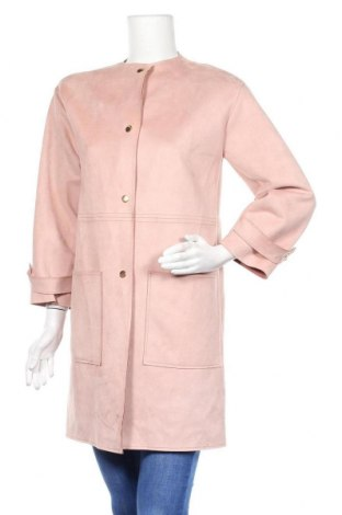Дамско палто Zara, Размер S, Цвят Розов, 90% полиестер, 10% еластан, Цена 51,66лв.