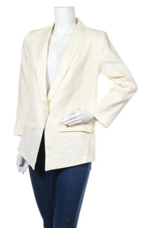 Дамско сако H&M, Размер L, Цвят Екрю, Лен, Цена 30,24лв.