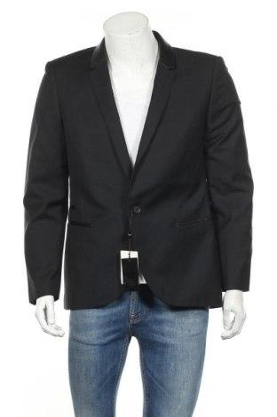 Ανδρικό σακάκι Eleven Paris, Μέγεθος L, Χρώμα Μαύρο, Μαλλί, βισκόζη, δερματίνη, Τιμή 18,45€