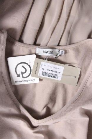 Рокля Myrine, Размер XS, Цвят Бежов, 95% памук, 5% еластан, Цена 26,22лв.