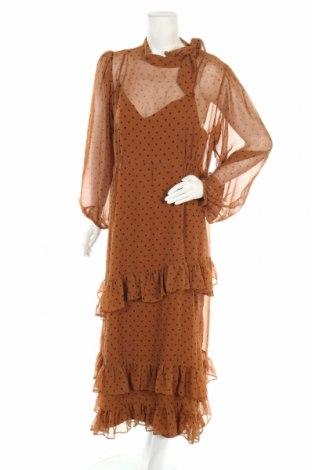 Рокля Zara, Размер XL, Цвят Кафяв, Полиестер, Цена 45,82лв.