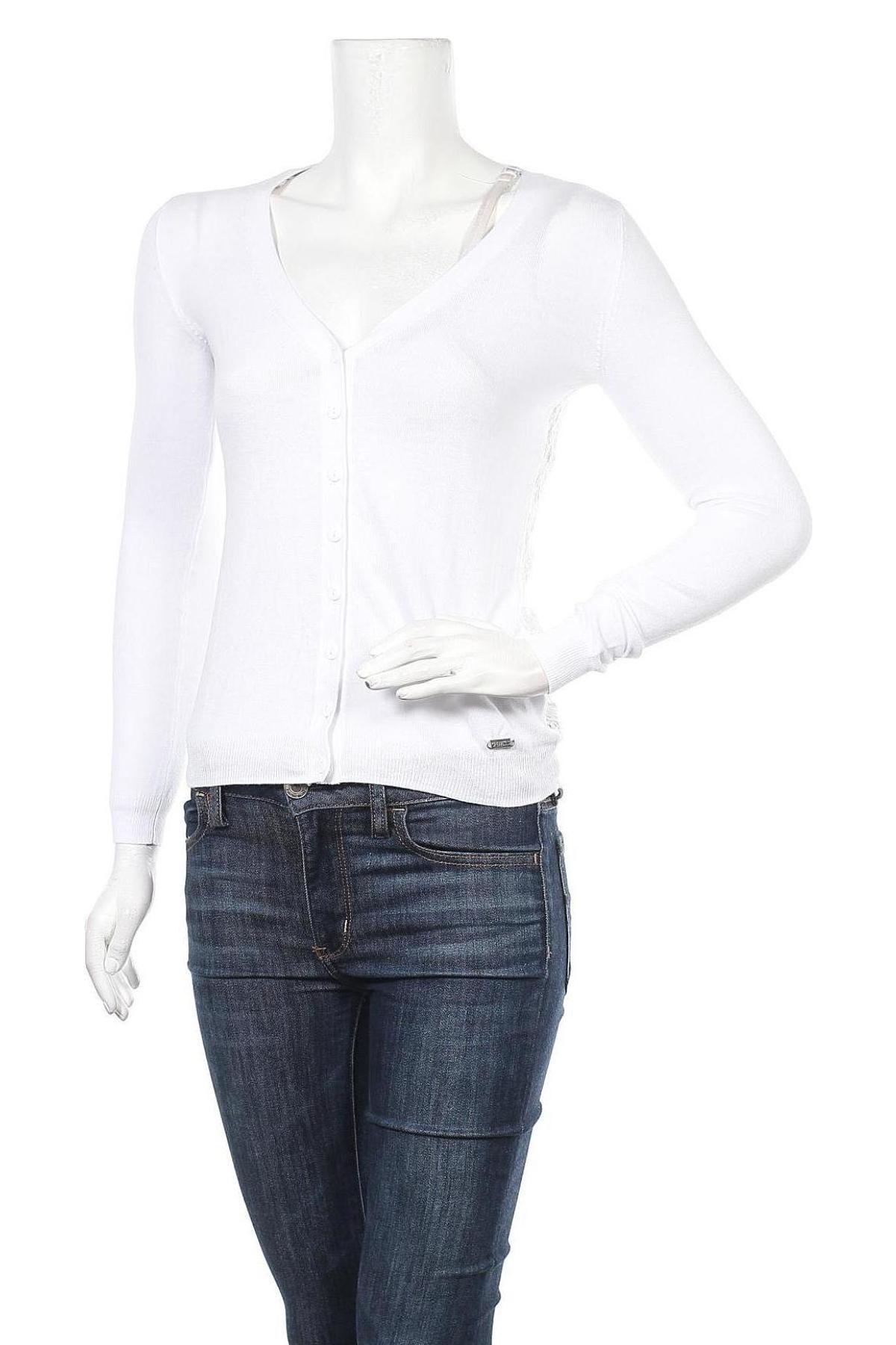 Γυναικεία ζακέτα Guess, Μέγεθος XS, Χρώμα Λευκό, 60% βαμβάκι, 40% βισκόζη, Τιμή 16,62€