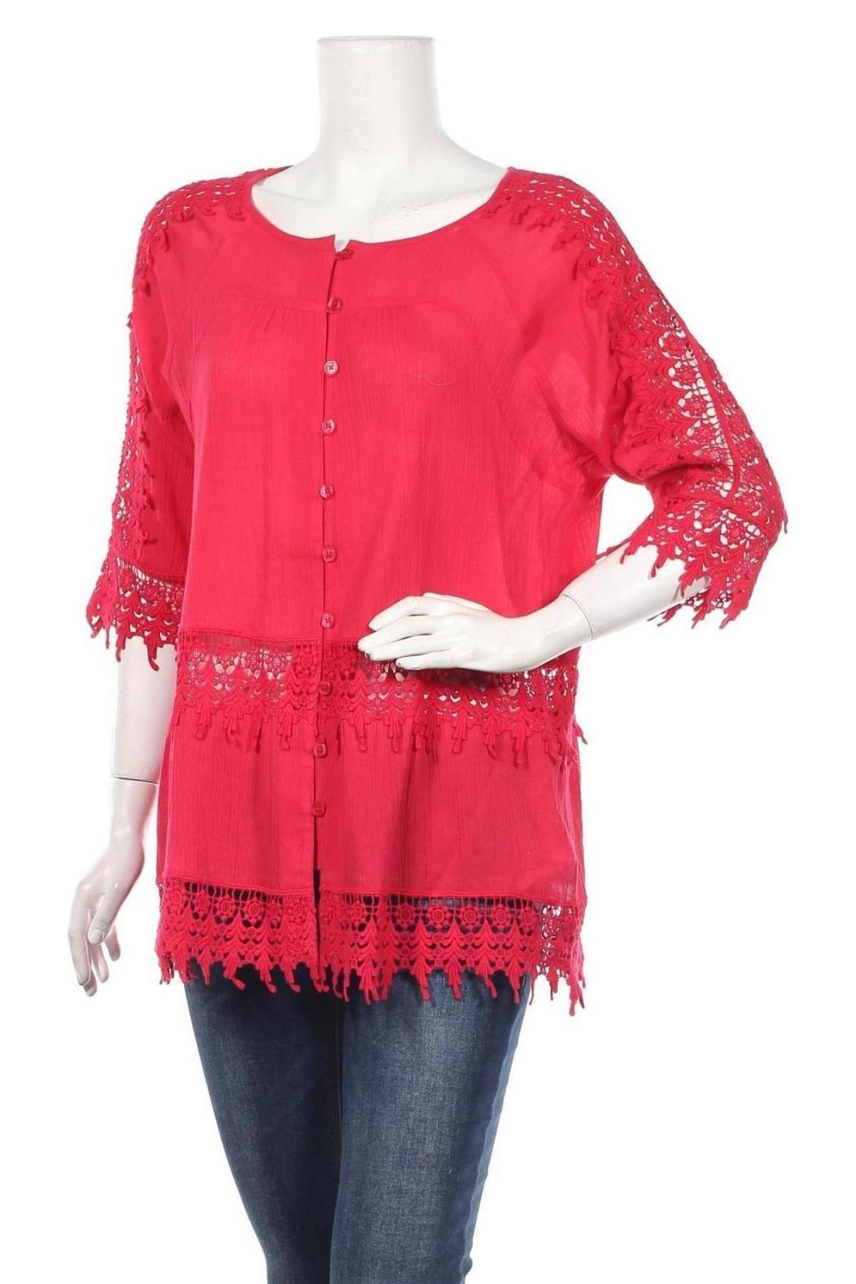 Дамска риза Alba Moda, Размер M, Цвят Червен, Памук, Цена 22,36лв.