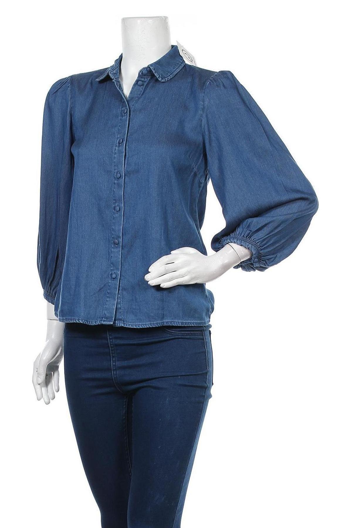 Дамска риза Vila, Размер XS, Цвят Син, 70% лиосел, 30% памук, Цена 20,65лв.