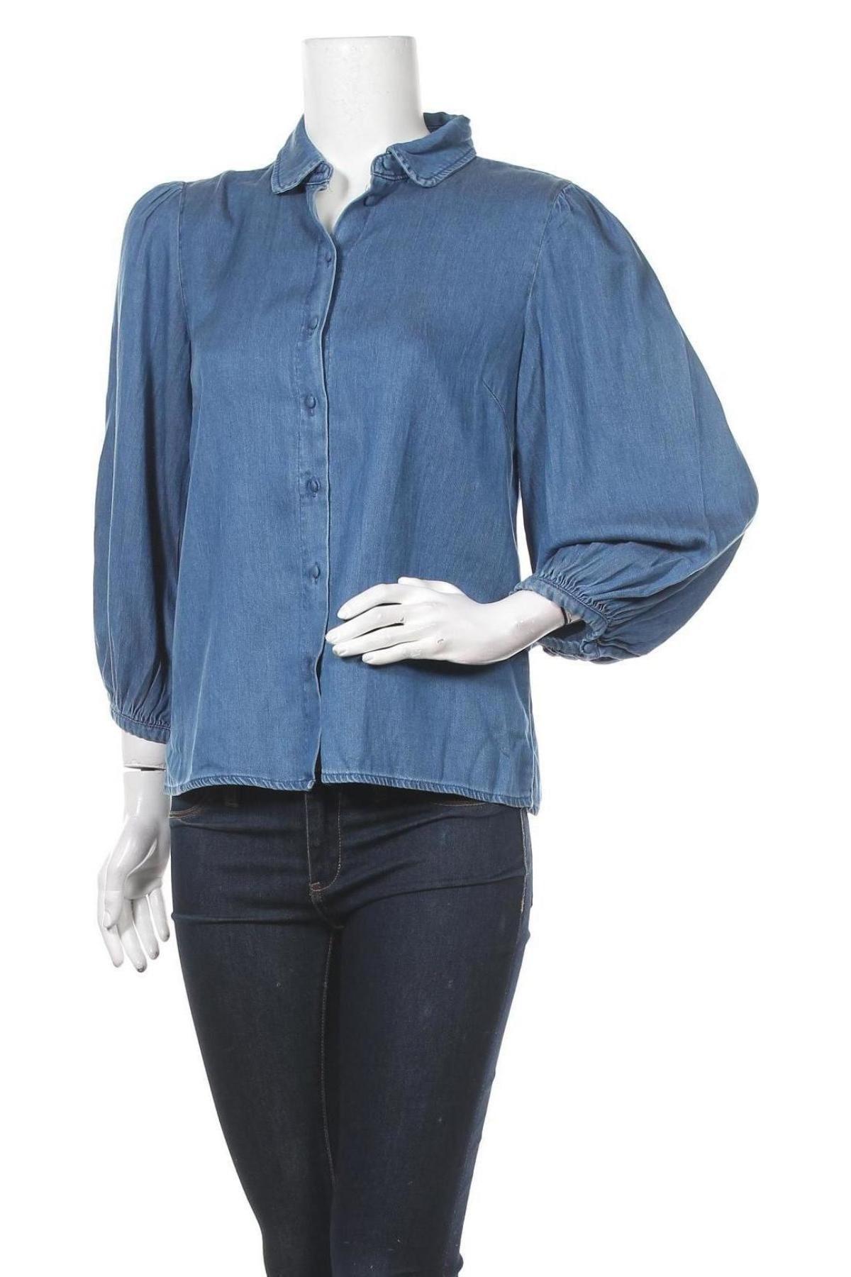 Дамска риза Vila, Размер M, Цвят Син, 70% лиосел, 30% памук, Цена 20,65лв.