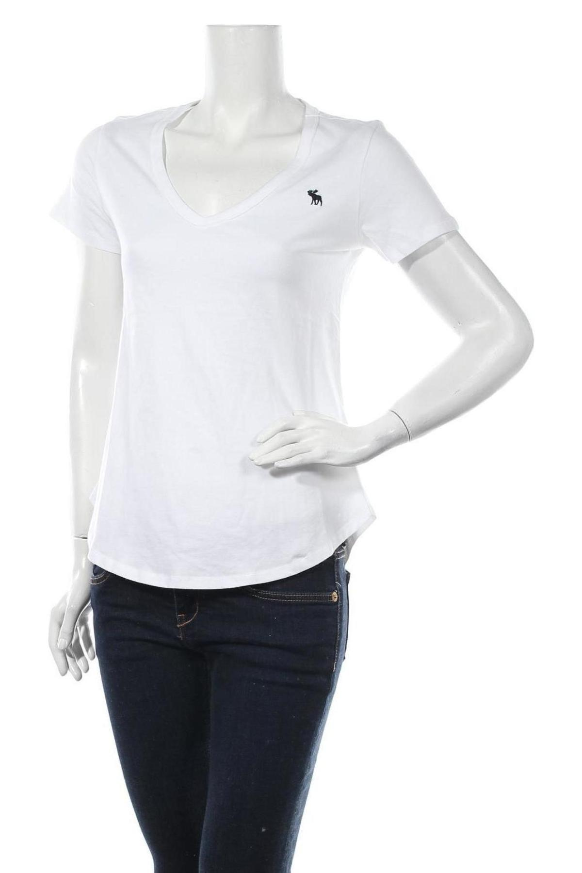 Дамска тениска Abercrombie & Fitch, Размер S, Цвят Бял, Памук, Цена 57,27лв.