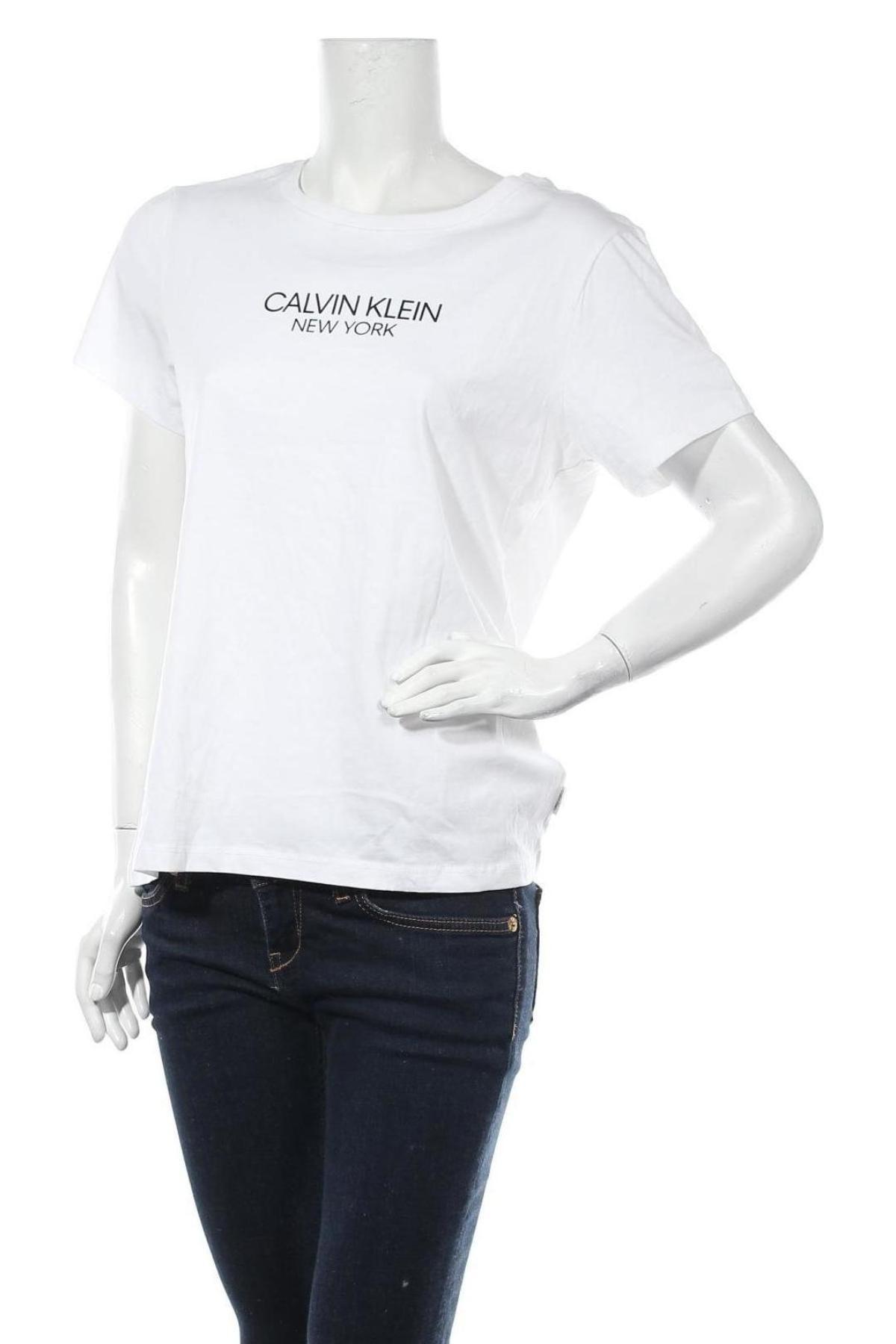 Дамска тениска Calvin Klein, Размер XXL, Цвят Бял, Памук, Цена 48,97лв.