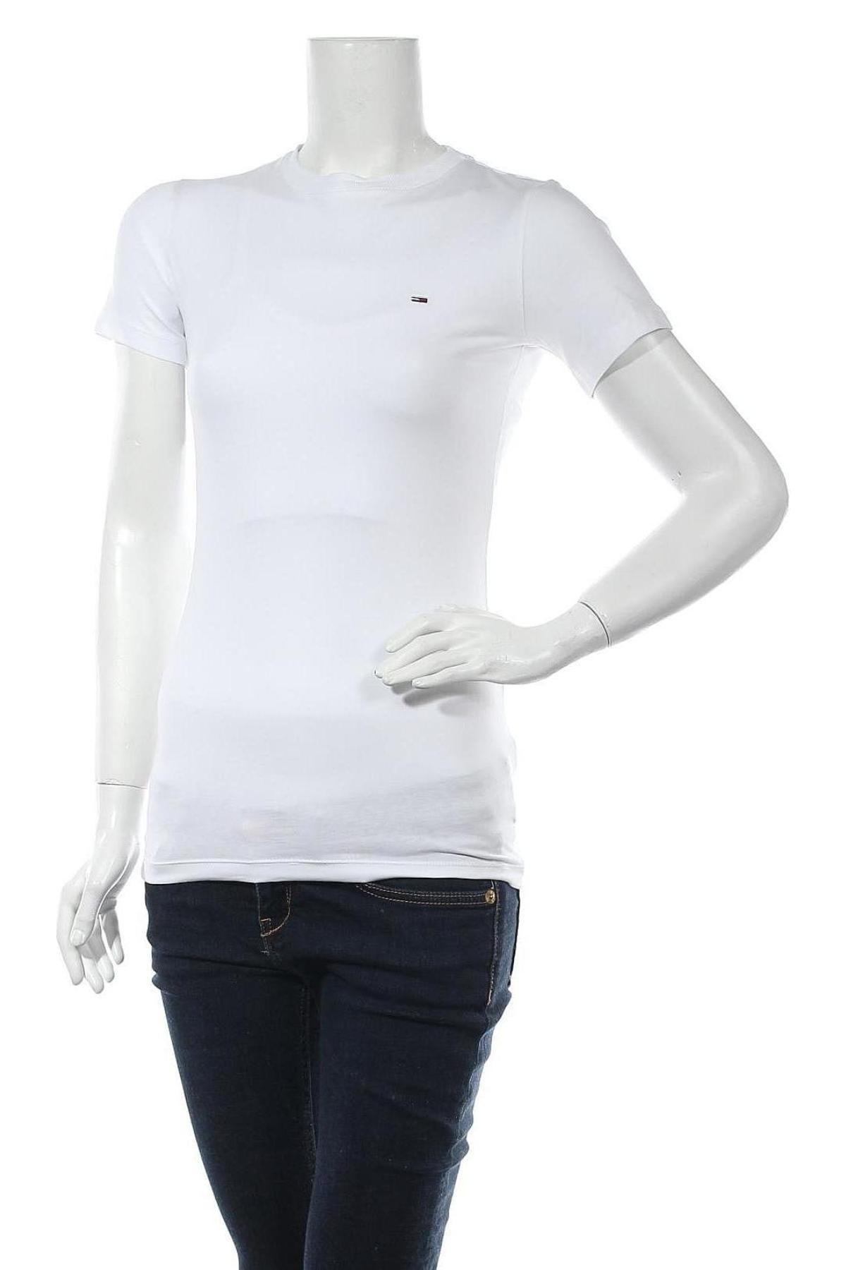 Дамска тениска Tommy Hilfiger, Размер M, Цвят Бял, 95% памук, 5% еластан, Цена 66,75лв.