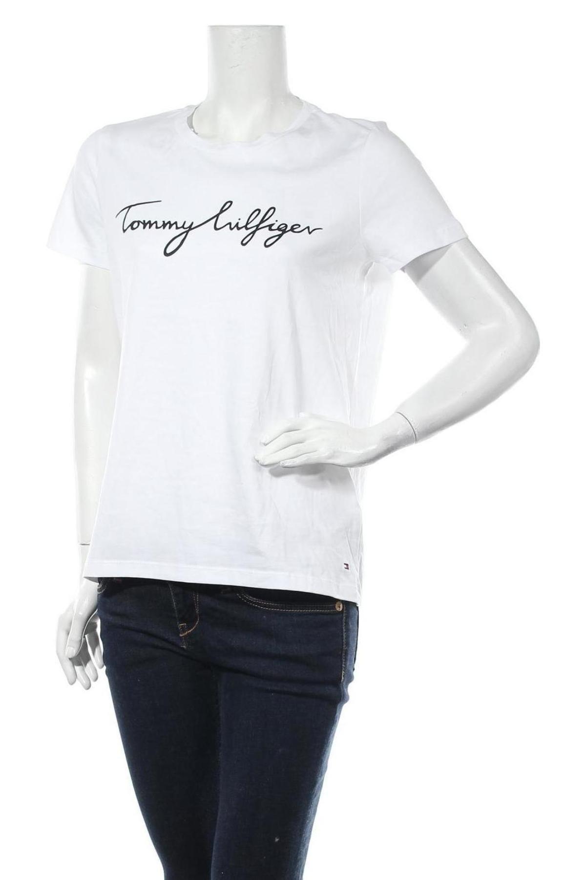 Дамска тениска Tommy Hilfiger, Размер M, Цвят Бял, Памук, Цена 61,62лв.