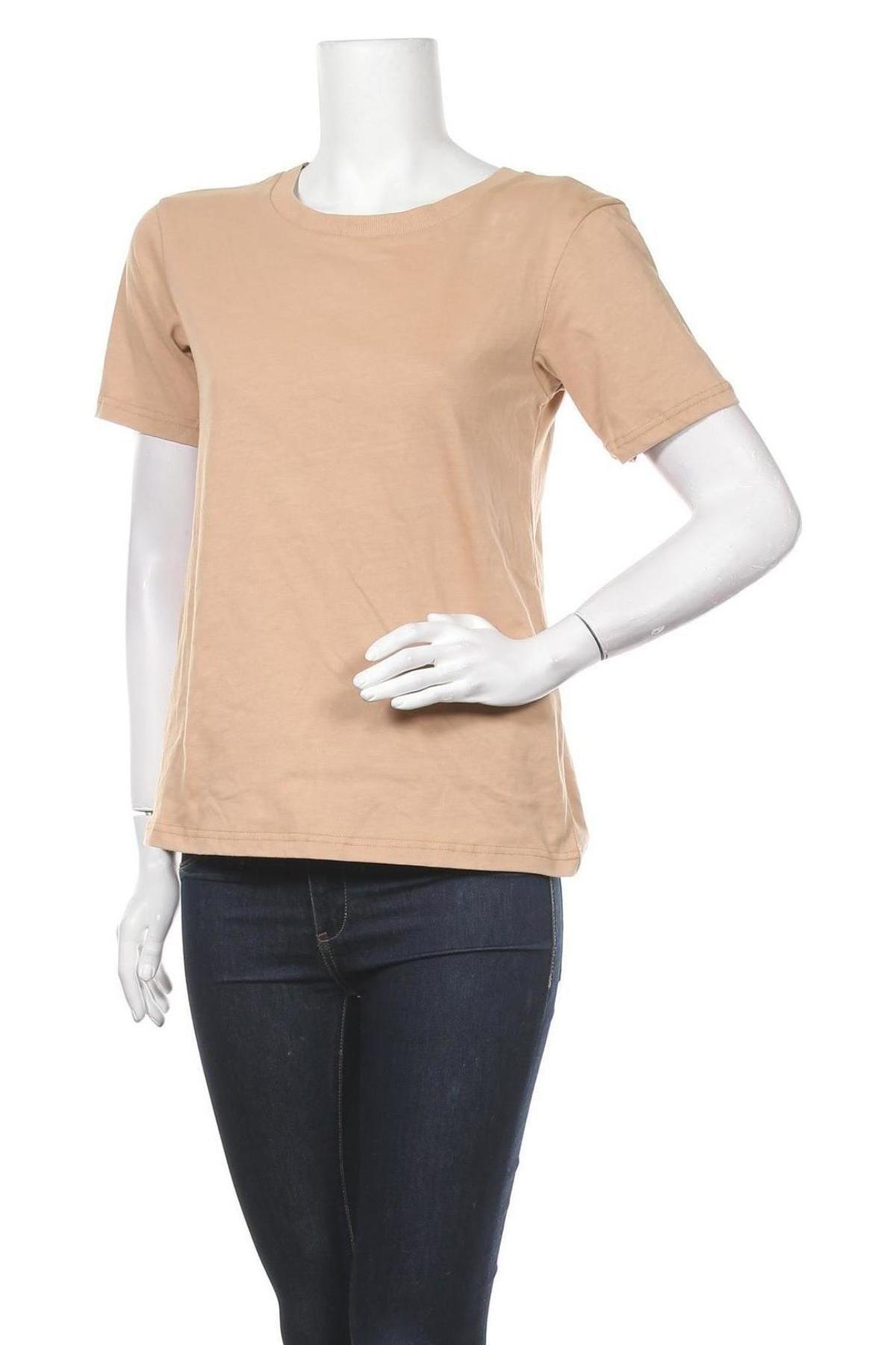 Дамска тениска Zign, Размер XS, Цвят Бежов, Памук, Цена 23,24лв.