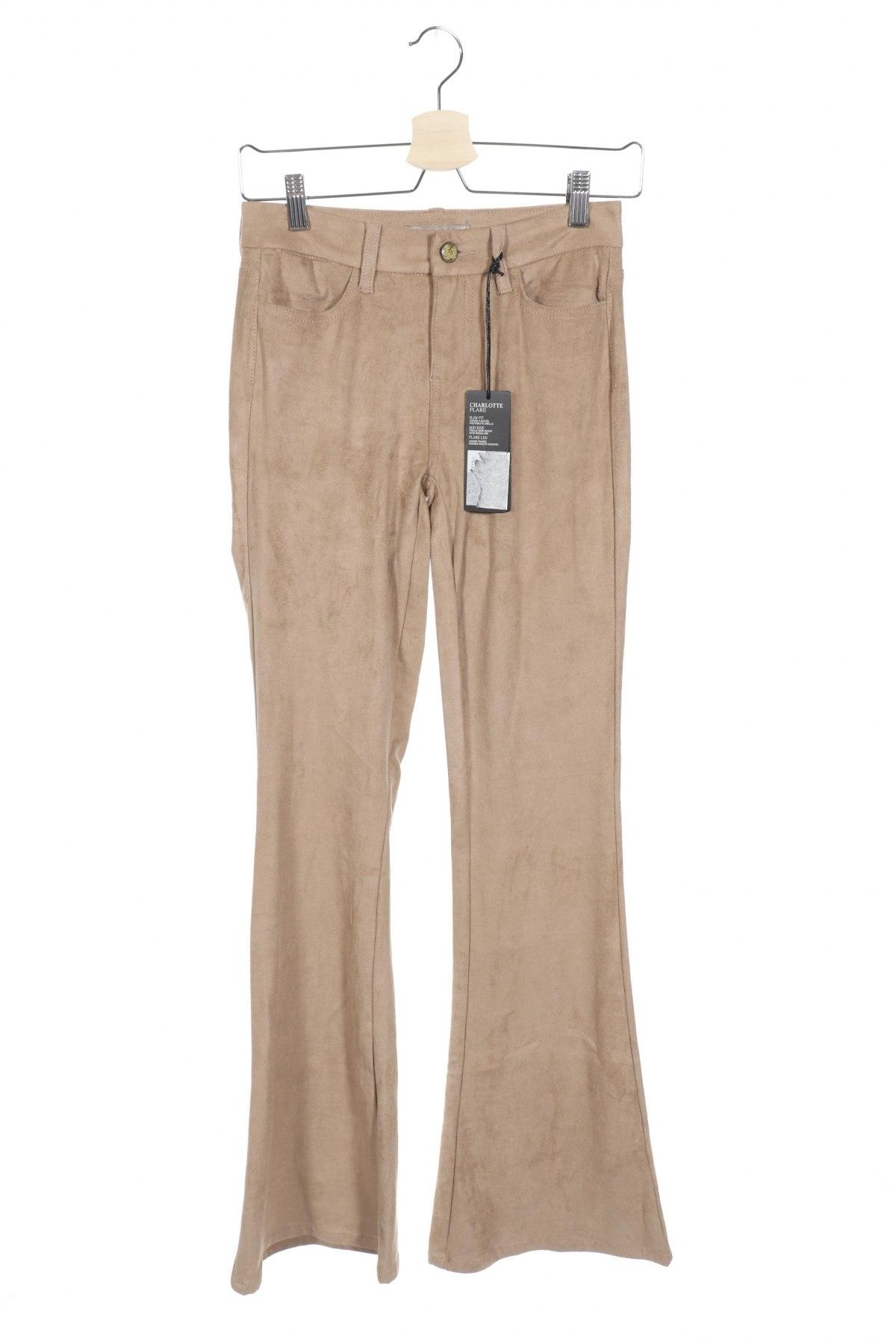 Дамски панталон Guess, Размер XXS, Цвят Бежов, 87% полиестер, 13% еластан, Цена 50,70лв.