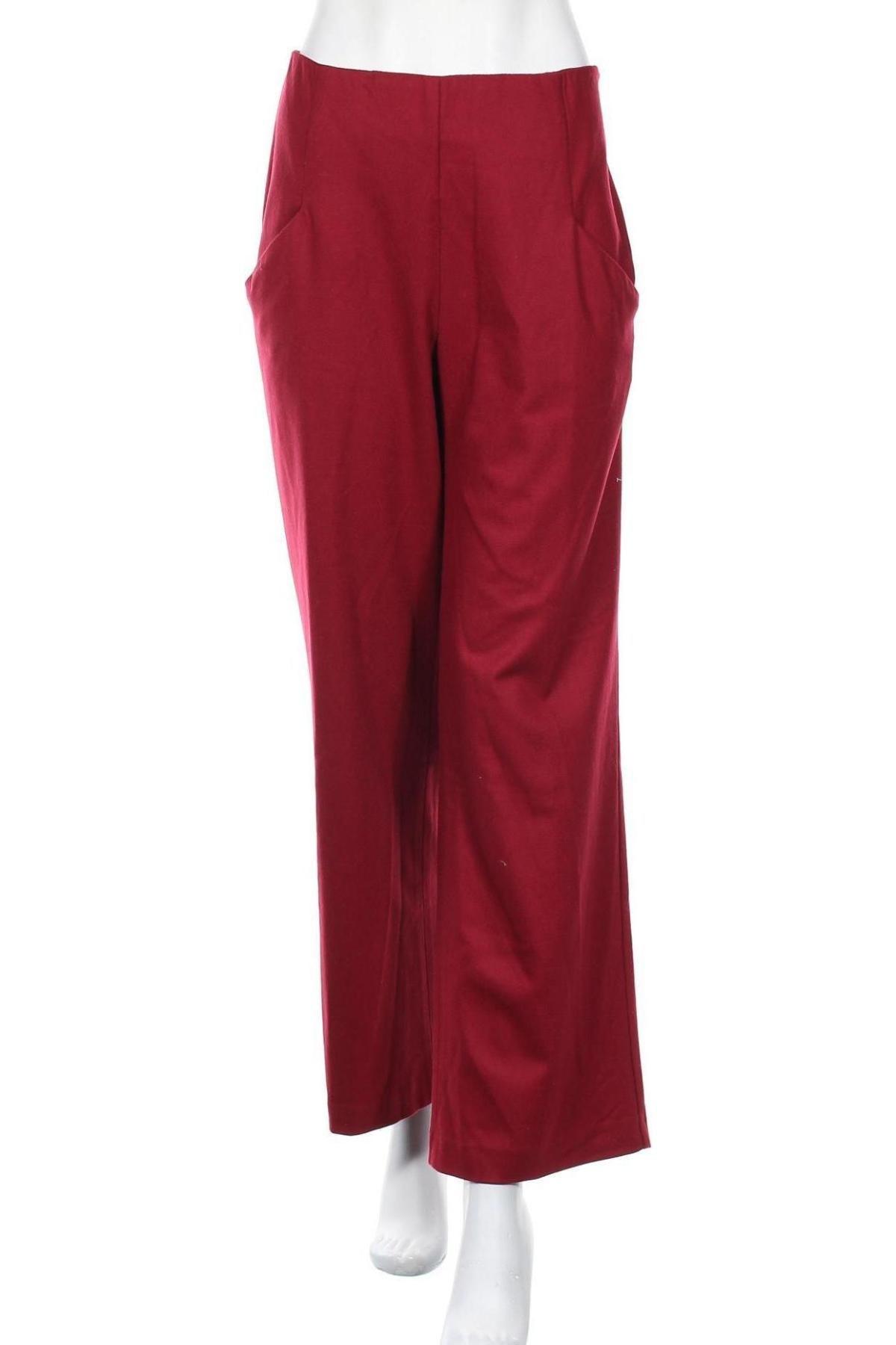 Дамски панталон Stefanel, Размер L, Цвят Червен, 65% вълна, 24% полиамид, 10% кашмир, 1% еластан, Цена 57,85лв.