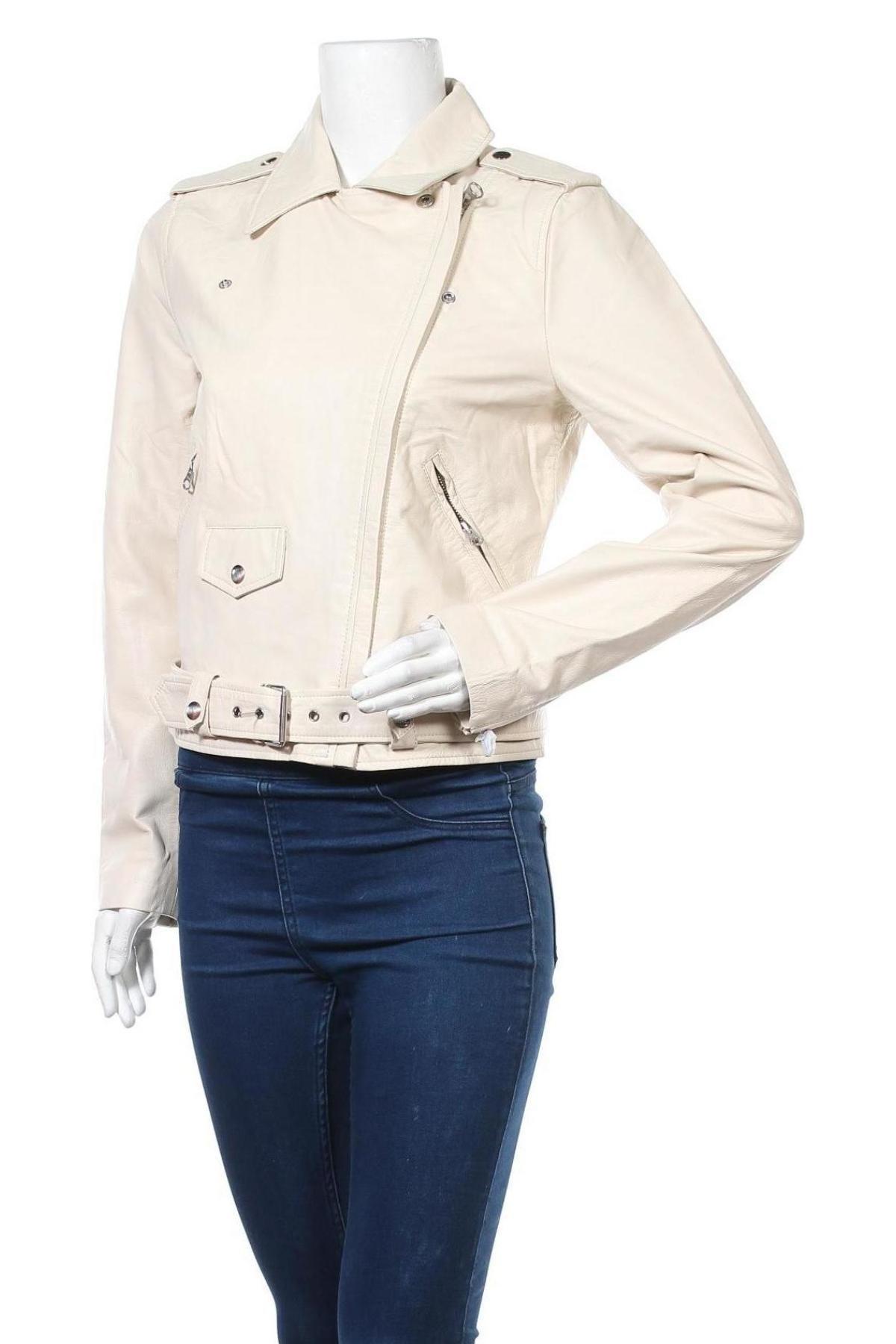 Дамско кожено яке Object, Размер M, Цвят Екрю, Естествена кожа, Цена 224,25лв.