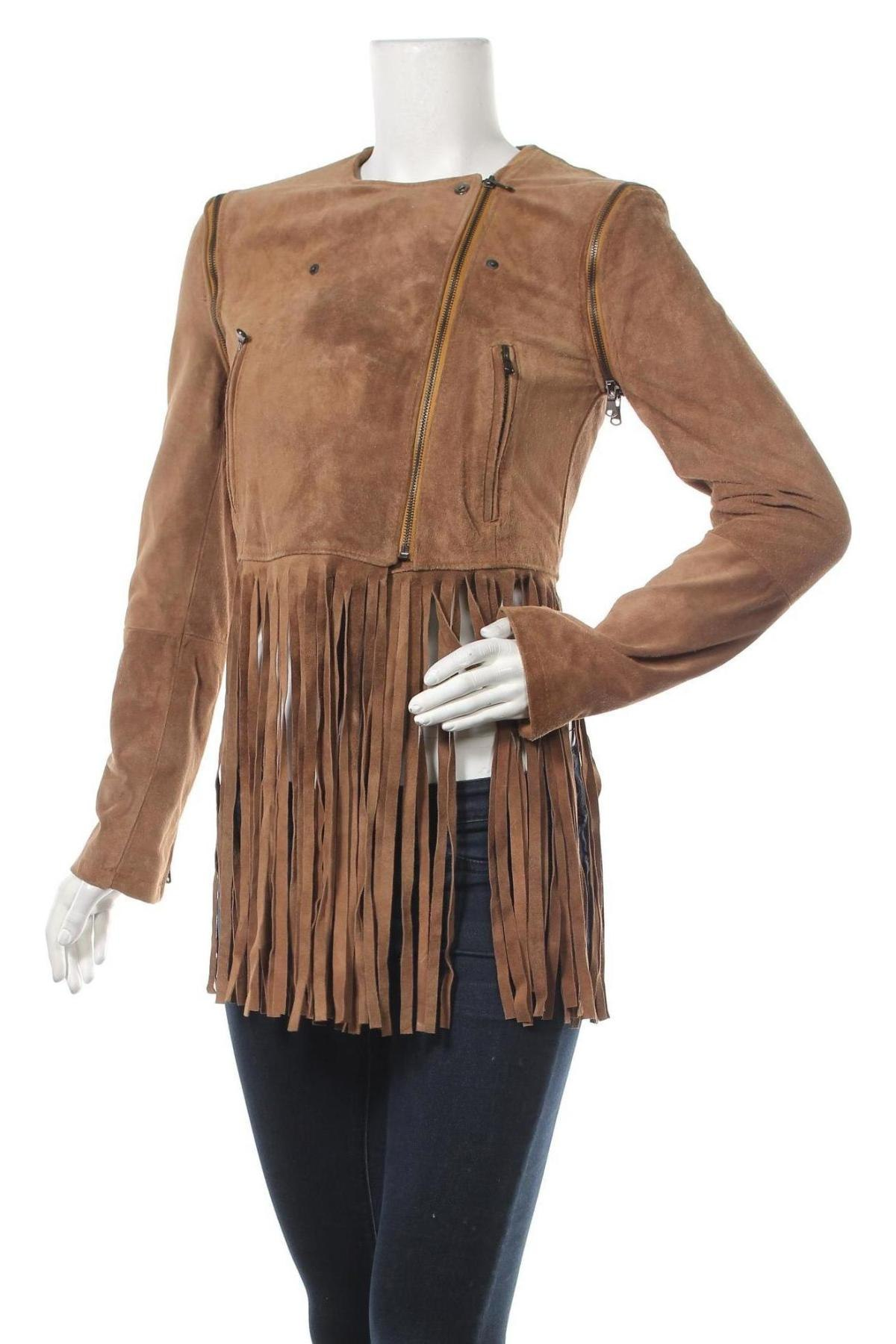 Дамско кожено яке Please, Размер S, Цвят Кафяв, Естествен велур, Цена 167,27лв.