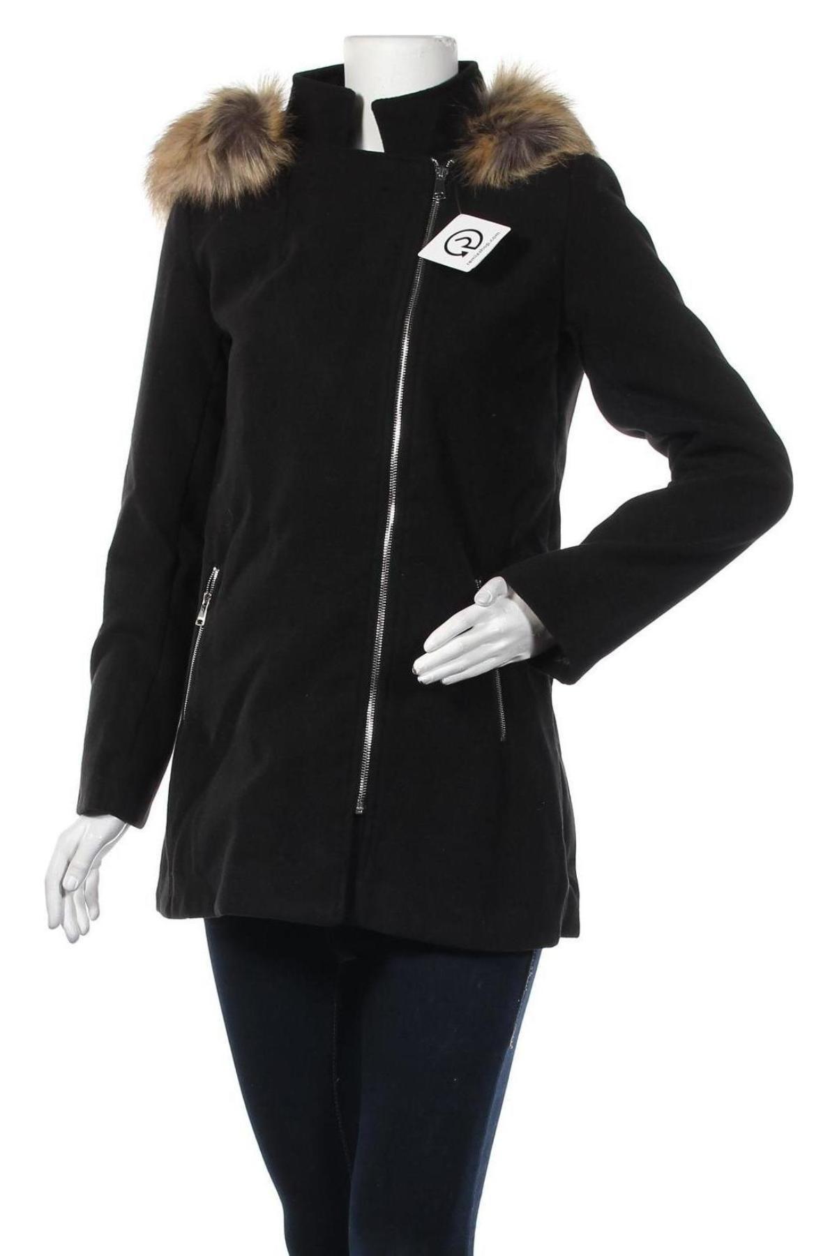 Дамско палто, Размер M, Цвят Черен, 80% полиестер, 20% вискоза, Цена 30,36лв.