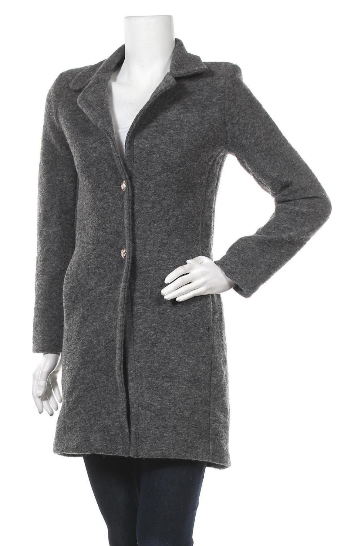 Дамско палто So Soon by Women dept, Размер XS, Цвят Сив, 80% вълна, 20% полиестер, Цена 56,62лв.