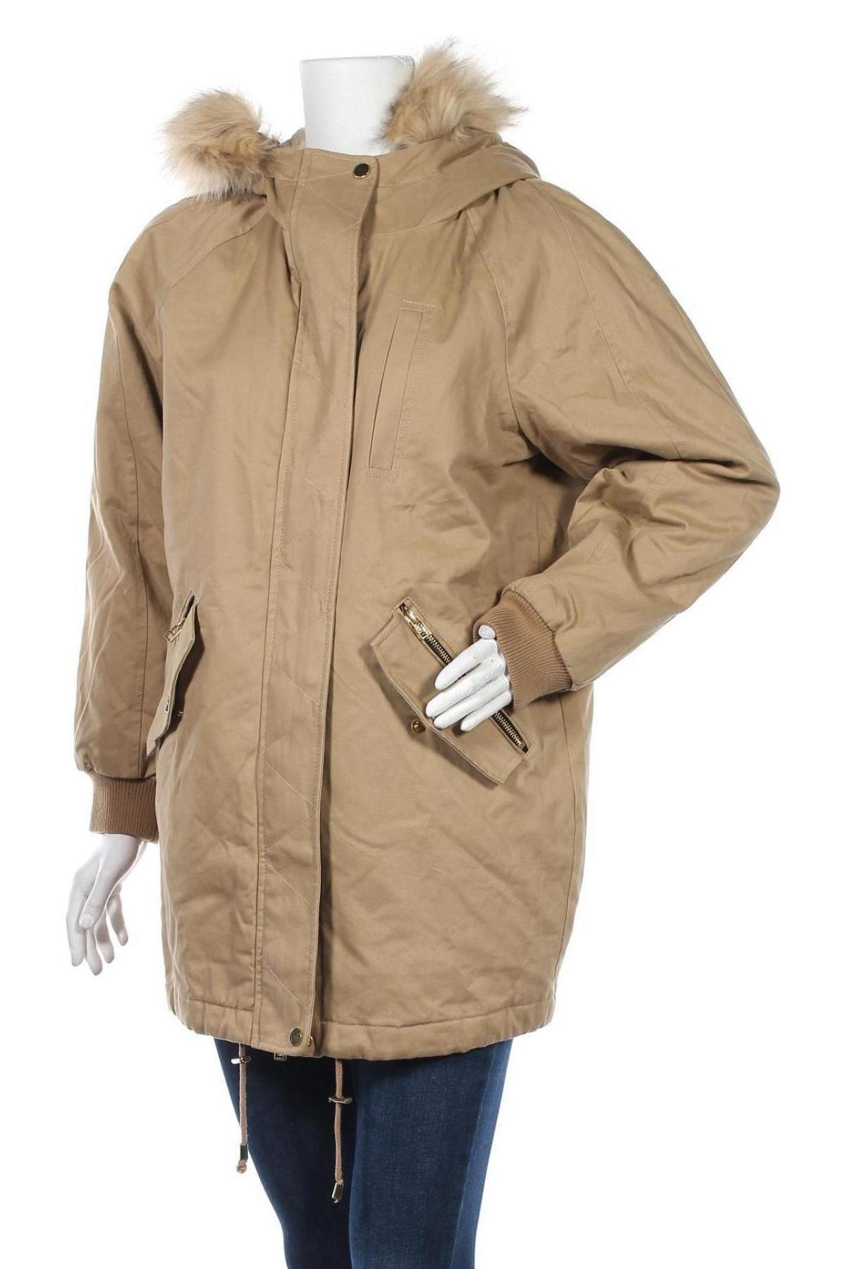 Дамско яке Pull&Bear, Размер S, Цвят Бежов, Полиестер, Цена 42,14лв.