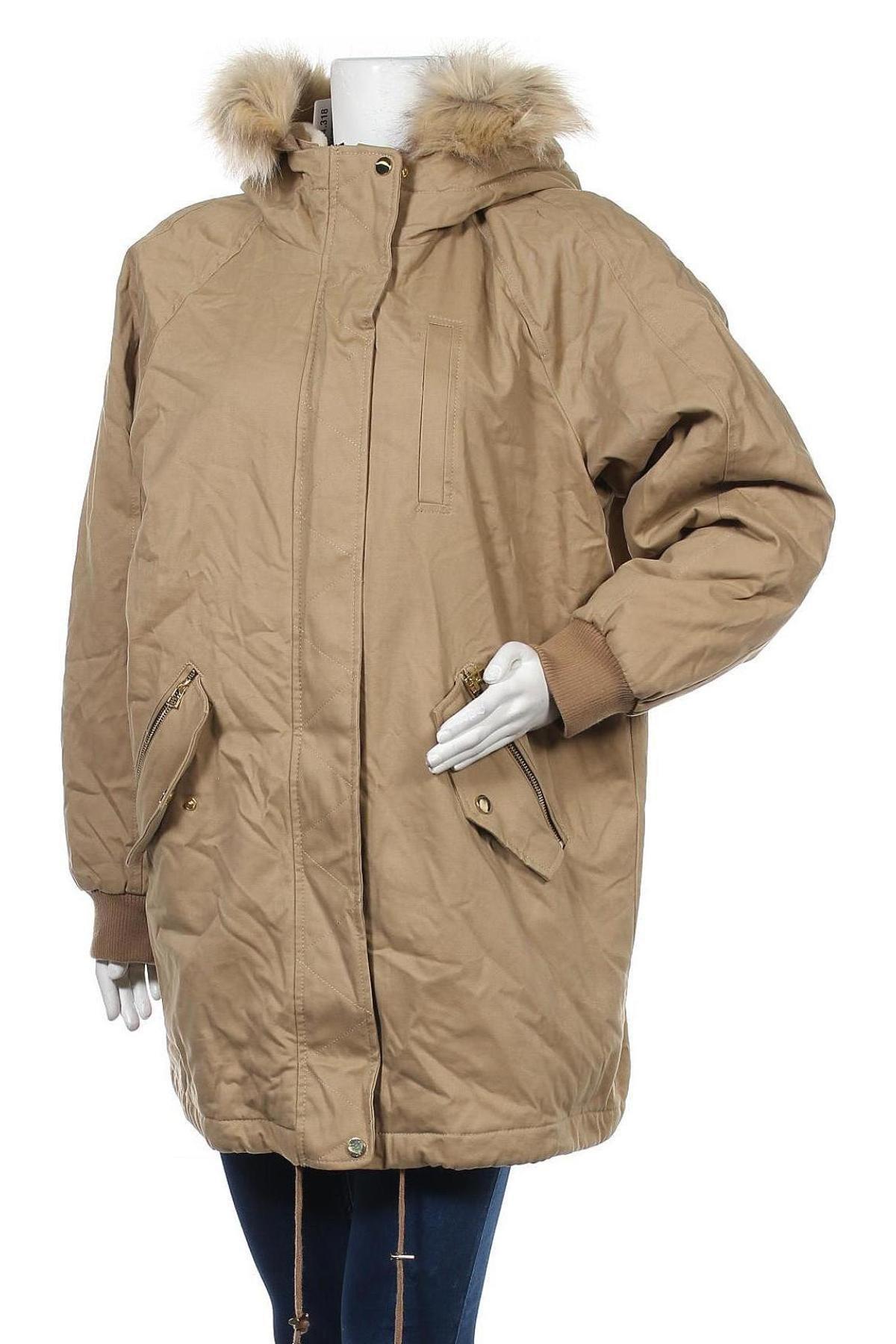 Дамско яке Pull&Bear, Размер L, Цвят Бежов, Полиамид, Цена 42,14лв.