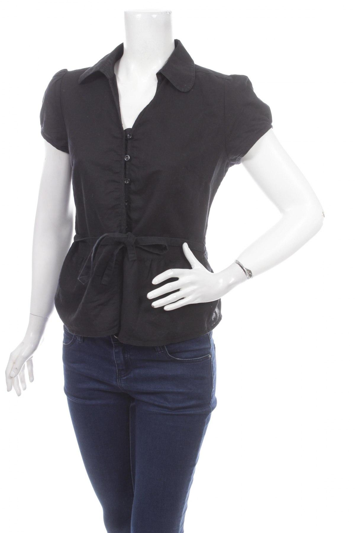 Γυναικείο πουκάμισο Yessica, Μέγεθος M, Χρώμα Μαύρο, 60% λινό, 40% βαμβάκι, Τιμή 11,86€