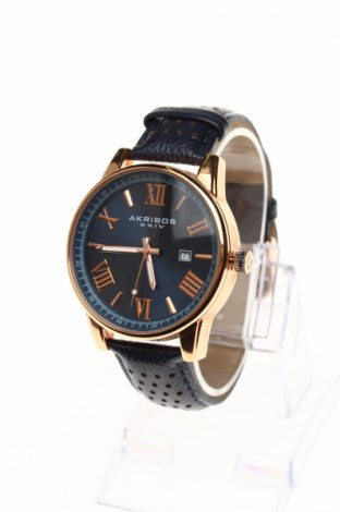 Часовник Akribos XXIV, Цвят Син, Естествена кожа, метал, Цена 149,75лв.