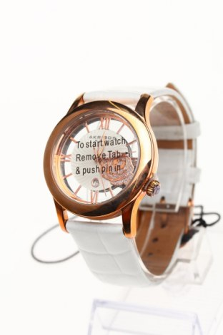 Часовник Akribos XXIV, Цвят Бял, Естествена кожа, метал, Цена 192,25лв.