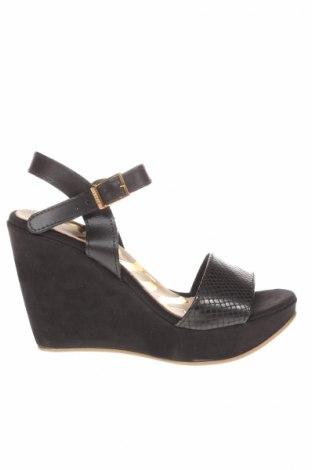 Sandale Cuple, Mărime 35, Culoare Negru, Piele naturală, textil, Preț 109,74 Lei