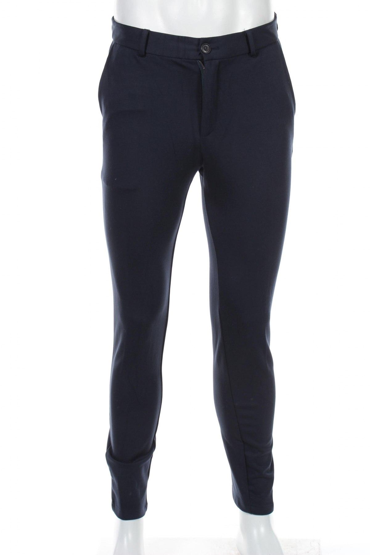 Мъжки панталон Selected Homme, Размер S, Цвят Син, 57% вискоза, 29% полиамид, 14% еластан, Цена 19,80лв.