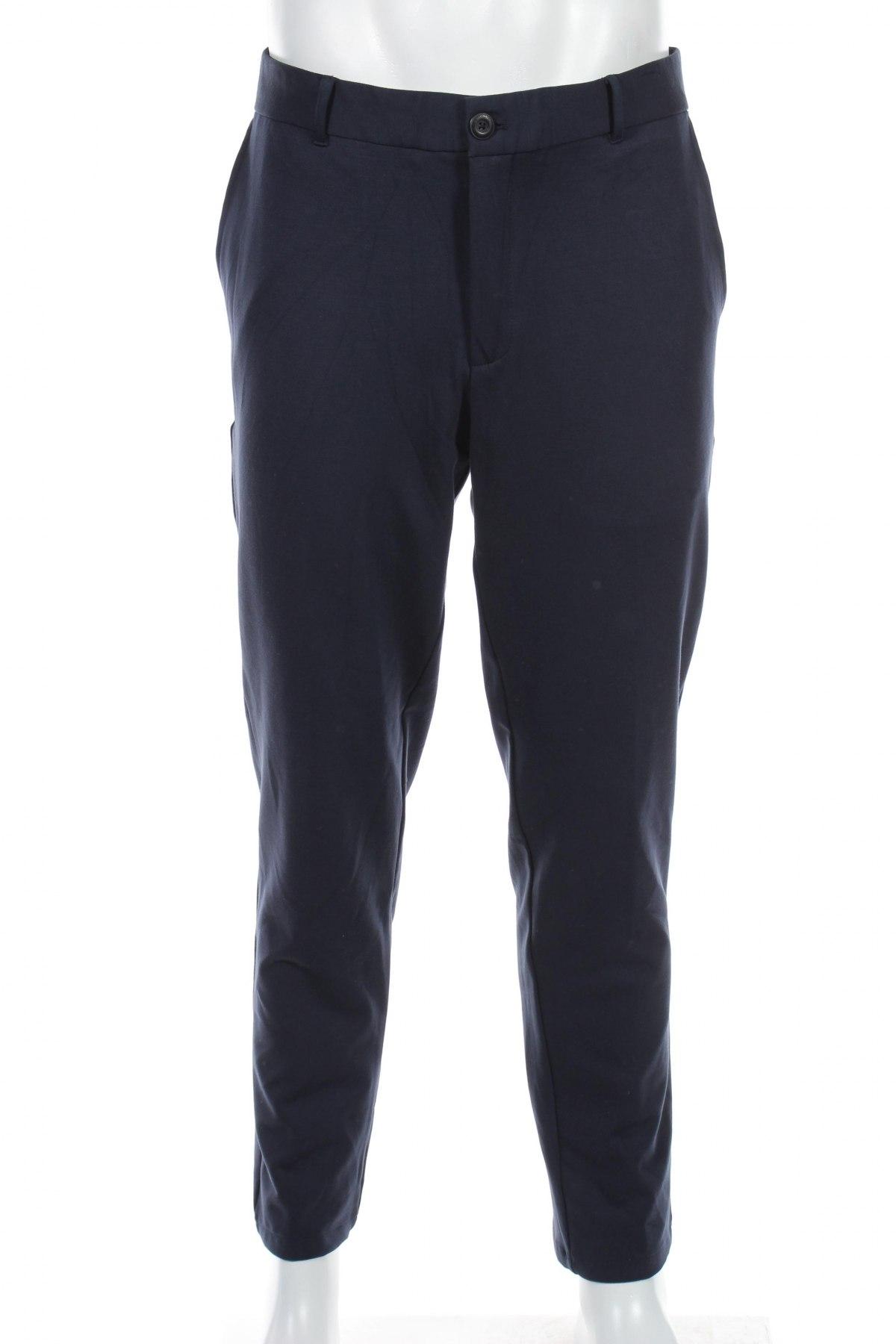 Мъжки панталон Selected Homme, Размер L, Цвят Син, 57% вискоза, 29% полиамид, 14% еластан, Цена 19,80лв.