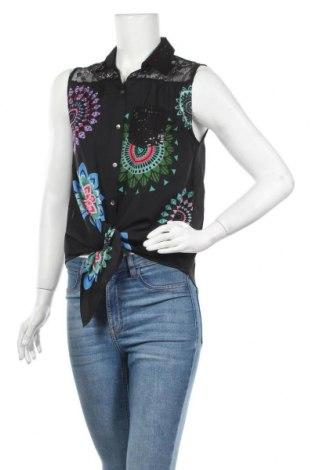 Дамска риза Desigual, Размер L, Цвят Черен, 92% полиестер, 8% полиамид, Цена 33,82лв.