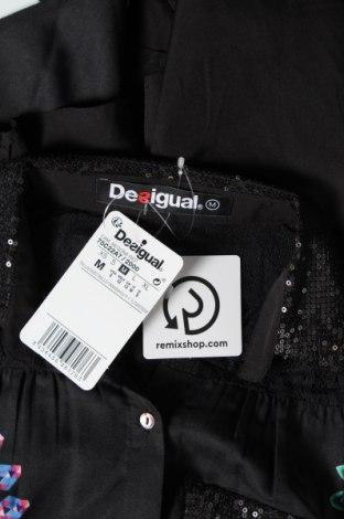 Дамска риза Desigual, Размер M, Цвят Черен, 92% полиестер, 8% полиамид, Цена 33,82лв.