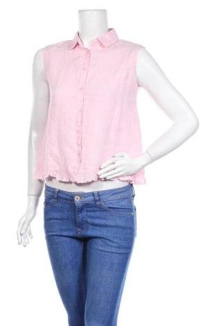 Дамска риза Mango, Размер XS, Цвят Розов, Лен, Цена 25,20лв.