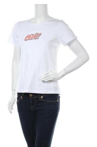 Дамска тениска Noisy May, Размер M, Цвят Бял, 95% памук, 5% еластан, Цена 11,20лв.