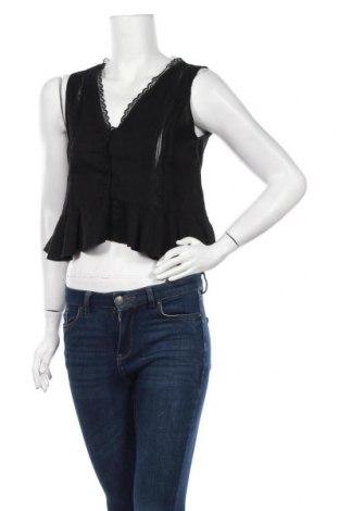 Дамски елек Zara, Размер M, Цвят Черен, 34% полиестер, 34% лен, 22% вискоза, 10% памук, Цена 11,18лв.