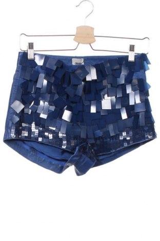 Дамски къс кожен панталон ASOS, Размер XS, Цвят Син, Естествена кожа, Цена 14,01лв.