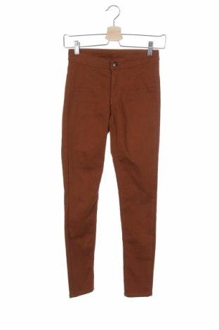 Дамски панталон H&M Divided, Размер XXS, Цвят Кафяв, 72% памук, 25% полиестер, 3% еластан, Цена 8,19лв.