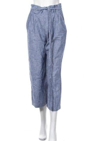 Дамски панталон H&M L.O.G.G., Размер M, Цвят Син, 50% памук, 50% лен, Цена 20,48лв.