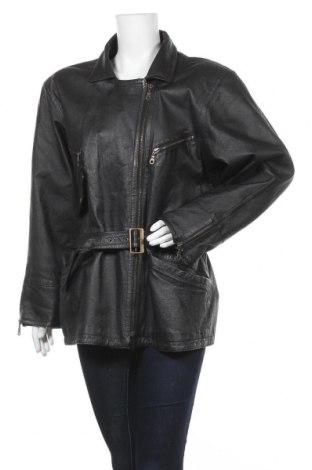 Дамско кожено яке, Размер XL, Цвят Черен, Естествена кожа, Цена 23,36лв.
