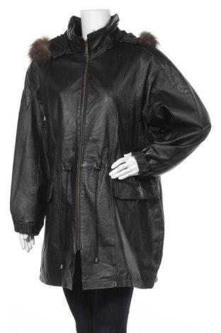 Γυναικείο δερμάτινο μπουφάν C&A, Μέγεθος XL, Χρώμα Μαύρο, Γνήσιο δέρμα, φυσική τρίχα, Τιμή 22,51€