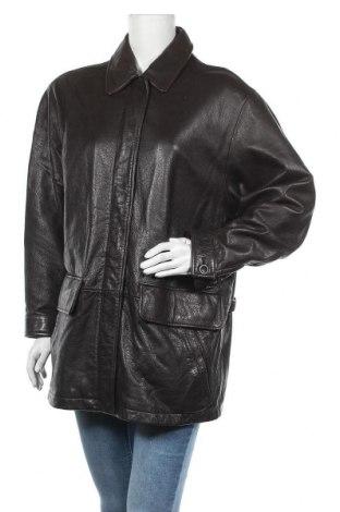Дамско кожено яке Eddie Bauer, Размер L, Цвят Черен, Естествена кожа, Цена 22,93лв.