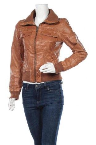 Γυναικείο δερμάτινο μπουφάν ONLY, Μέγεθος S, Χρώμα Καφέ, Γνήσιο δέρμα, Τιμή 39,74€