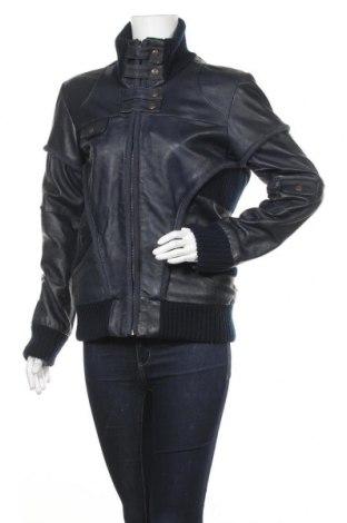 Дамско кожено яке Object, Размер L, Цвят Син, Естествена кожа, текстил, Цена 57,96лв.