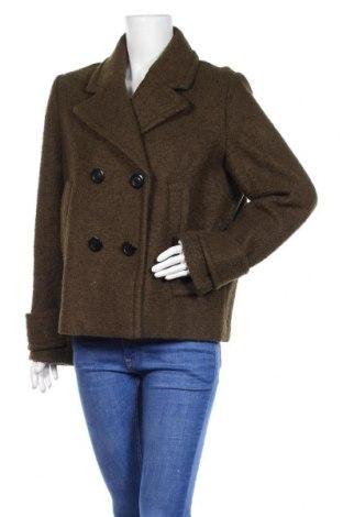Дамско палто H&M, Размер L, Цвят Зелен, 54% полиестер, 46% вълна, Цена 25,44лв.