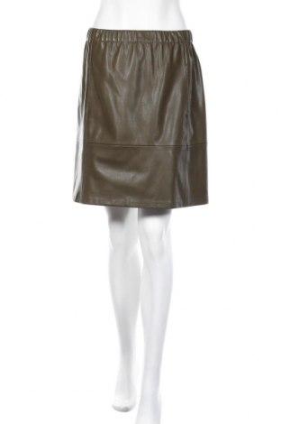 Кожена пола Zara Trafaluc, Размер M, Цвят Зелен, Еко кожа, Цена 25,50лв.
